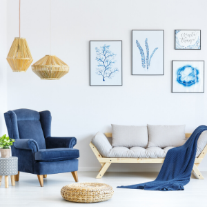Living room with blue colors