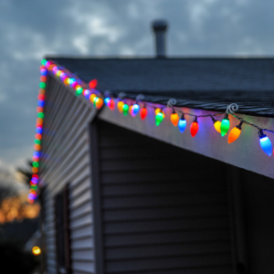 Holiday lights on a home